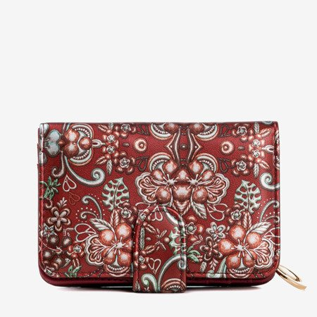 Patterned small women's wallet in burgundy color - Wallet