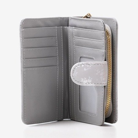 Patterned small women's wallet in gray - Wallet