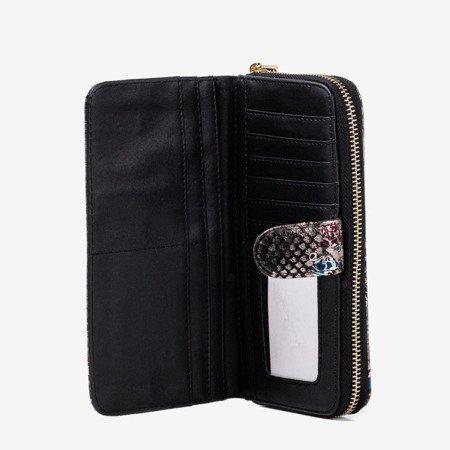 Patterned women's wallet a'la snake skin in black - Wallet
