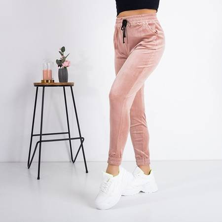 Pink Velor Sweatpants - Trousers