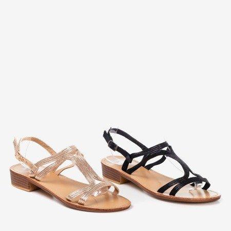 Pink - gold women's sandals on low heels Treunia - Footwear 1