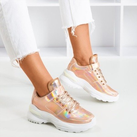 Pink - gold women's sneakers with a holographic finish That's You - Footwear 1