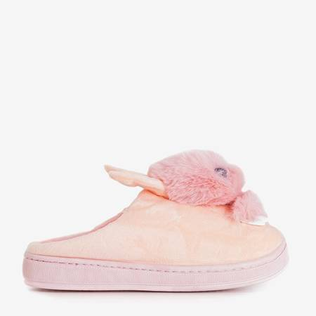 Pink women's slippers with a bunny Rozalinda - Shoes