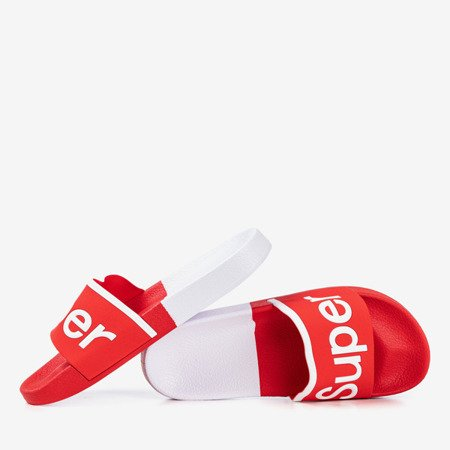 Red men's slippers with the word Super - Footwear 1