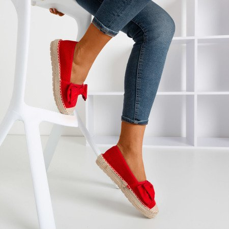 Red openwork espadrilles on a platform with a bow Mimilla - Footwear 1