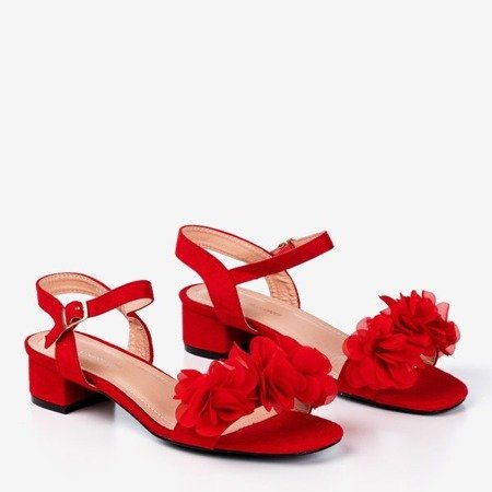 Red women's sandals on a low post with flowers Flonia - Footwear 1