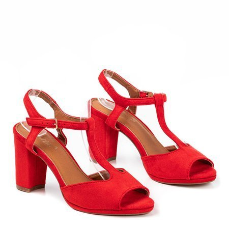 Red women's sandals on the higher Morata post - Footwear 1