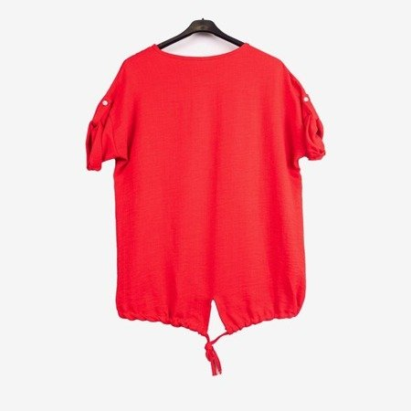 Red women's tunic with print - Blouses 1