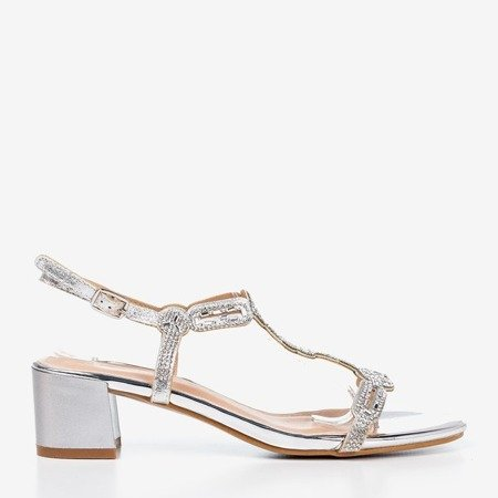 Silver sandals on a low post with cubic zirconias Doremia - Footwear