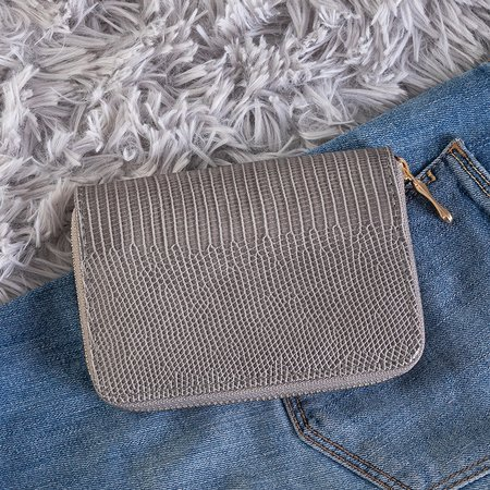 Small gray women's wallet a'la snake skin - Wallet