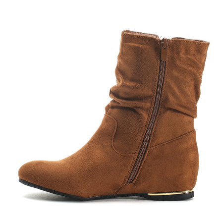 Suede ankle boots with covered wedge heels in camel color Lovely Shoes