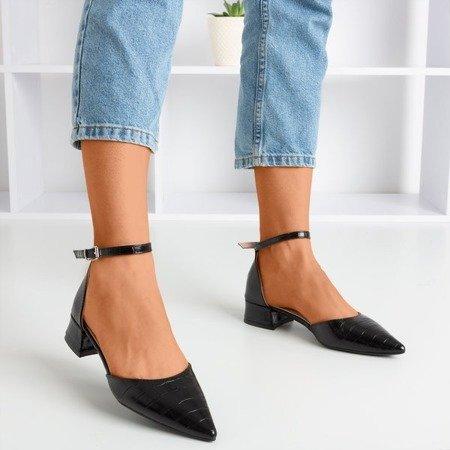 Tesena Animal Printed Black Ballerinas - Footwear