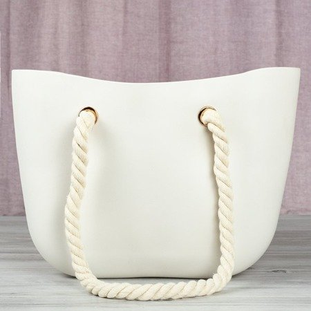 White - beige rubber bag with handles - Handbags 1