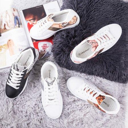 White - pink women's sneakers a'la Clastie snake skin - Footwear 1