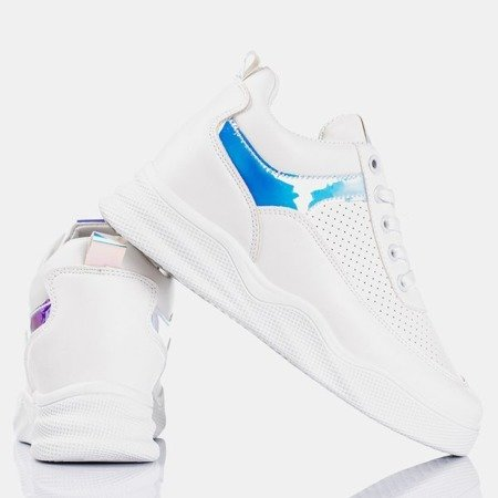 White sneakers on an indoor wedge with holographic Fassia inserts - Footwear 1