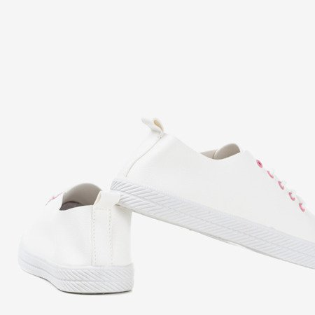 White sneakers with pink guides Ewilia - Footwear 1