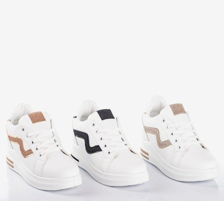 White sport shoes on an indoor wedge with pink Say It inserts - Footwear 1