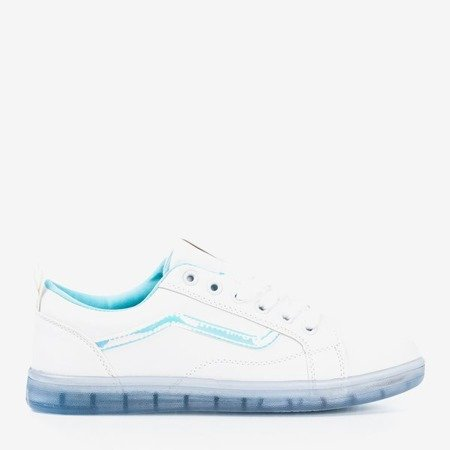 White women's sneakers with a blue holographic insert Domsca - Footwear 1