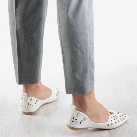 White women's ballerinas with Lil decorations - Footwear 1