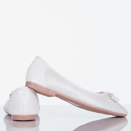 White women's ballerinas with a bow Liz - Footwear 1