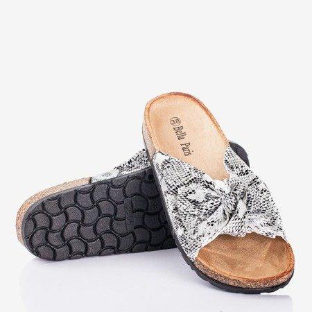 White women's slippers with bow a'la snake skin Sunshine - Footwear 1