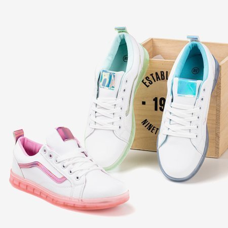 White women's sneakers with a green holographic Domsca insert - Footwear 1
