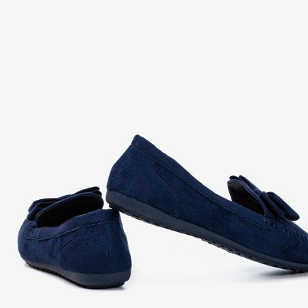 Women's navy blue loafers with a bow Ursula - Footwear 1