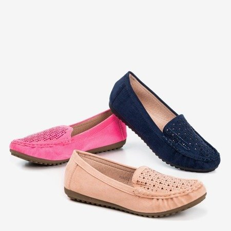 Women's navy blue loafers with cubic zirconia Cyliua - Footwear 1