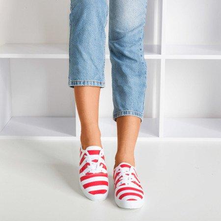 Women's Red Seashell Striped Sneakers - Footwear