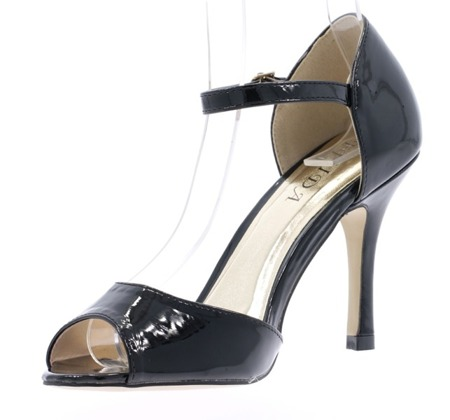 Women's black lacquered sandals on a Guisera heel - Footwear