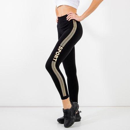 Women's black leggings with gold trim - Clothing