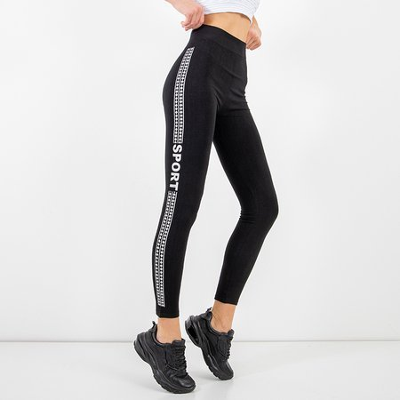 Women's black leggings with silver details - Clothing