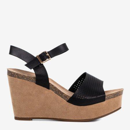 Women's black sandals on a wedge Autonoe - Footwear