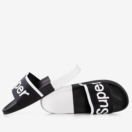 Women's black sandals with Supera inscription - Footwear