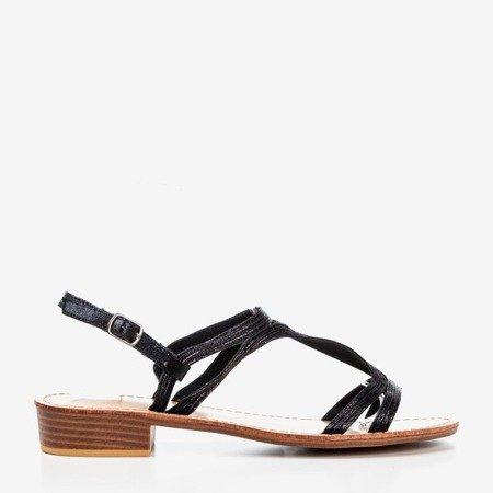 Women's black sandals with low heels Treunia - Footwear