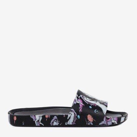 Women's black slippers with a unicorn motif Vienradzis - Footwear