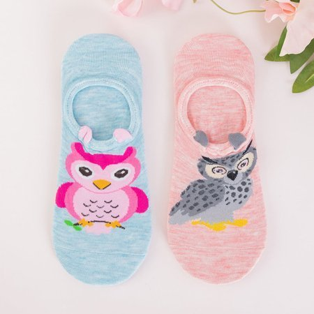 Women's blue and pink feet with animals 2 / pack - Socks