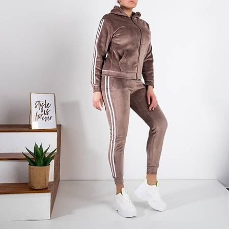 Women's brown insulated tracksuit set - Clothing