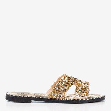 Women's gold sequin slippers Hemessa - Footwear