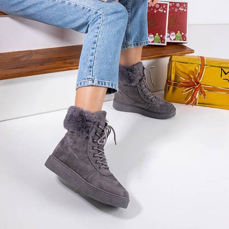 Women's gray lace-up snow boots Evitina - Footwear