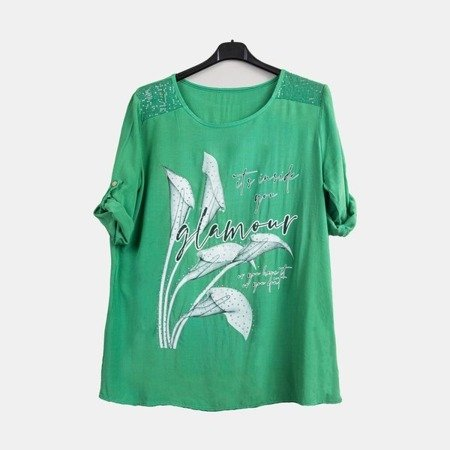 Women's green tunic with print and inscriptions - Blouses 1