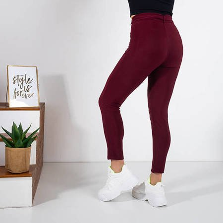 Women's maroon fabric pants with a tied belt - Trousers