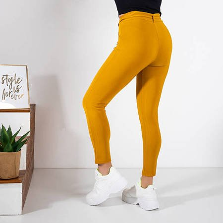 Women's mustard fabric trousers with a tied belt - Trousers