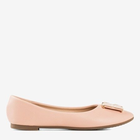 Women's pink ballerinas with an ornament on the toe Rionach - Footwear