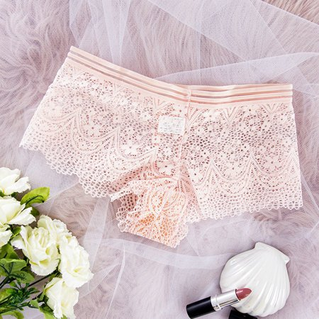 Women's pink lace boxer shorts - Underwear