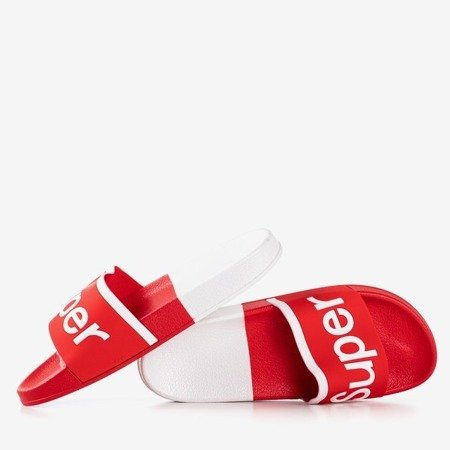 Women's red slippers with Supera inscription - Footwear