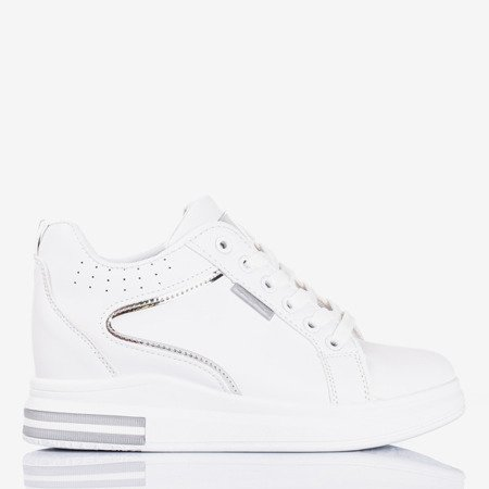Women's white and silver sneakers with an indoor wedge heel Marcja - Footwear