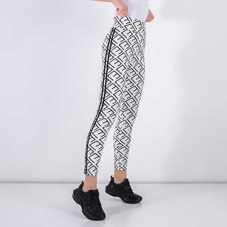 Women's white leggings with a geometric pattern - Clothing