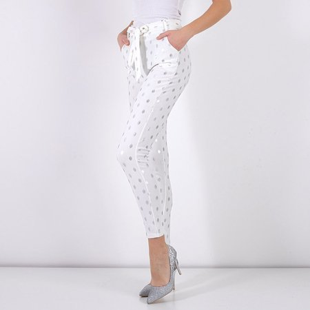 Women's white pants with silver dots - Clothing