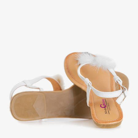 Women's white sandals with Begnet ornaments - Footwear